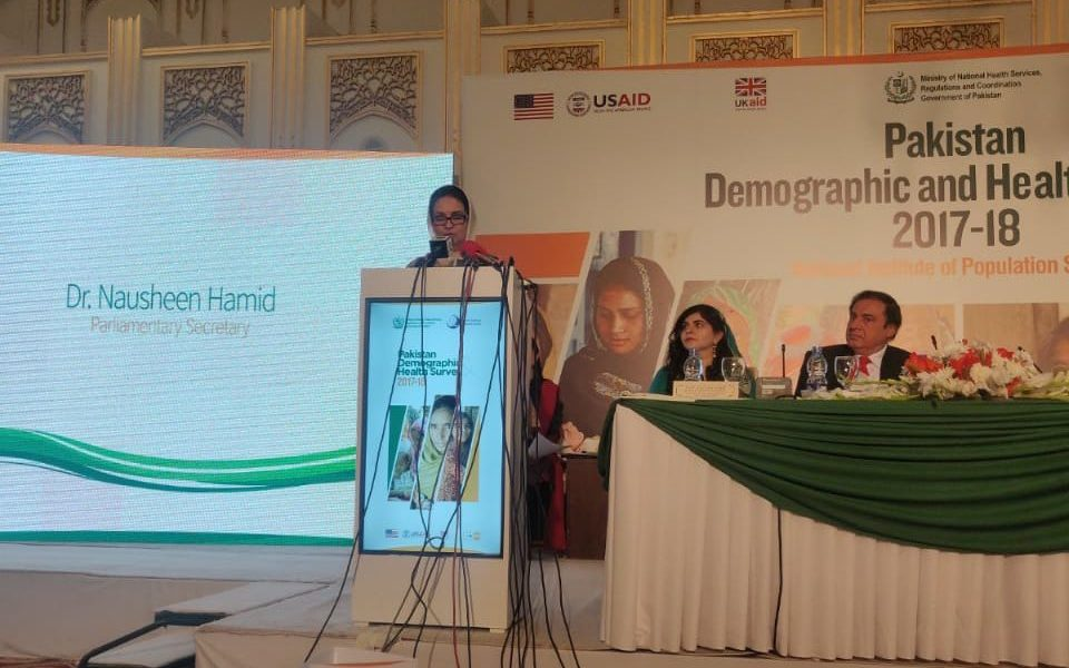 Chairing the National Dissemination Seminar on Pakistan DHS